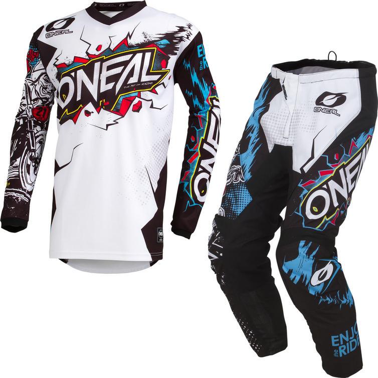 Oneal Element 2019 Villain Motocross Jersey & Pants White Kit