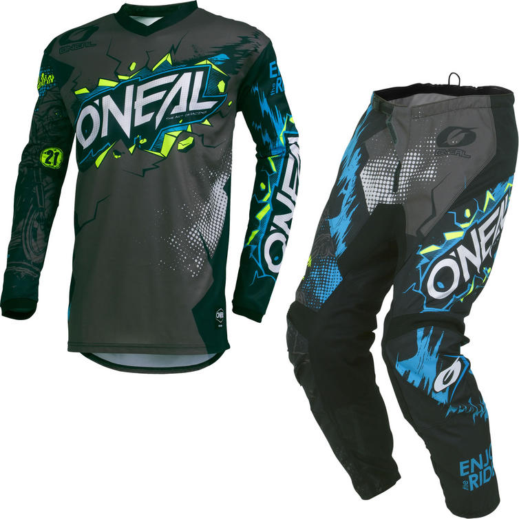Oneal Element 2019 Villain Motocross Jersey & Pants Grey Kit