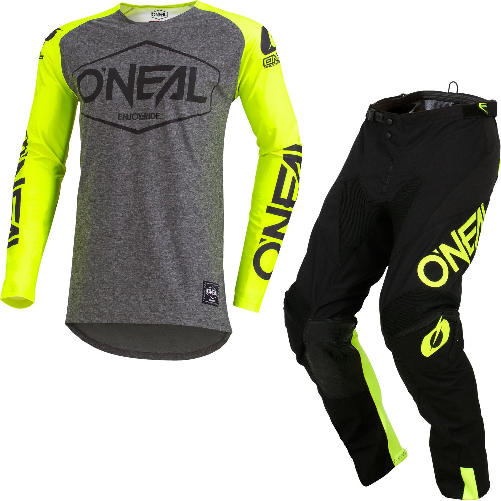 ONEAL Mayhem hexx Combo Giallo Neon ENDURO crosshose MX Jersey Guanti