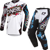 Oneal Element 2019 Villain Youth Motocross Jersey & Pants White Kit