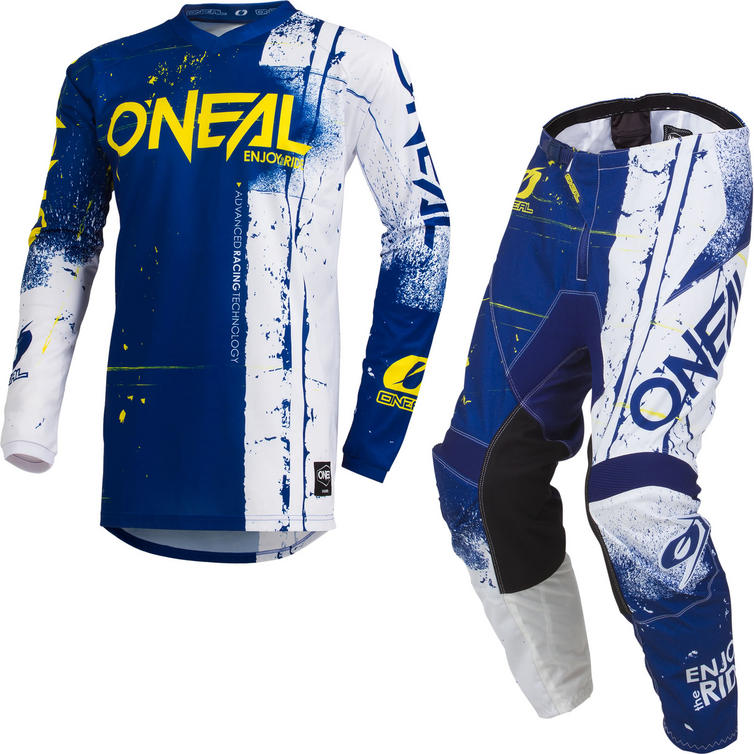 Oneal Element 2019 Shred Youth Motocross Jersey & Pants Blue Kit
