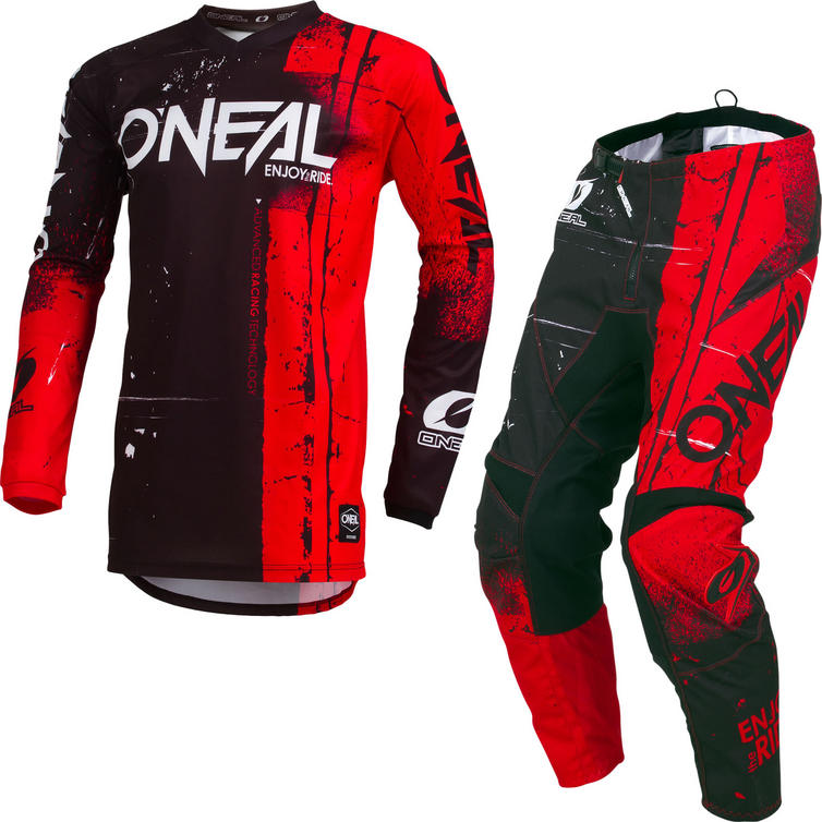 Oneal Element 2019 Shred Youth Motocross Jersey & Pants Red Kit