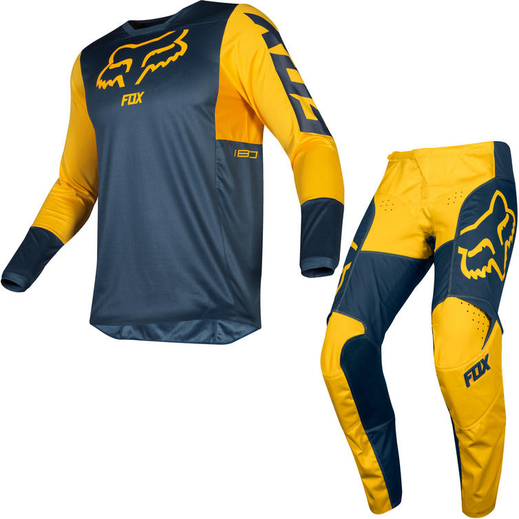 Fox Racing 2019 180 Przm Motocross Jersey & Pants Navy Yellow Kit