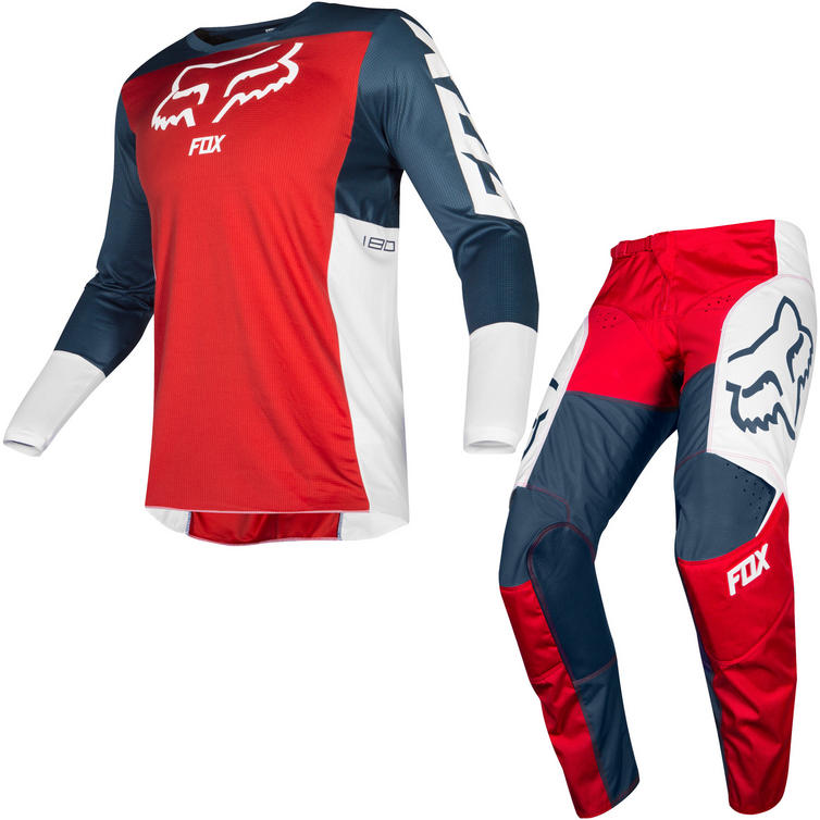Fox Racing 2019 180 Przm Motocross Jersey & Pants Navy Red Kit