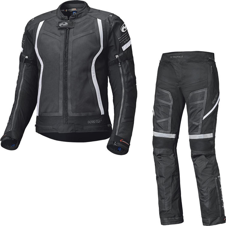 Held Aerosec Gore-Tex Ladies Motorcycle Jacket & Trousers Black White Kit