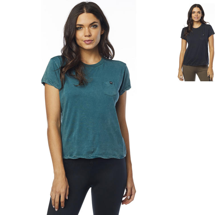 Fox Racing Washed Out Ladies Short Sleeve Pocket Crew Neck Top