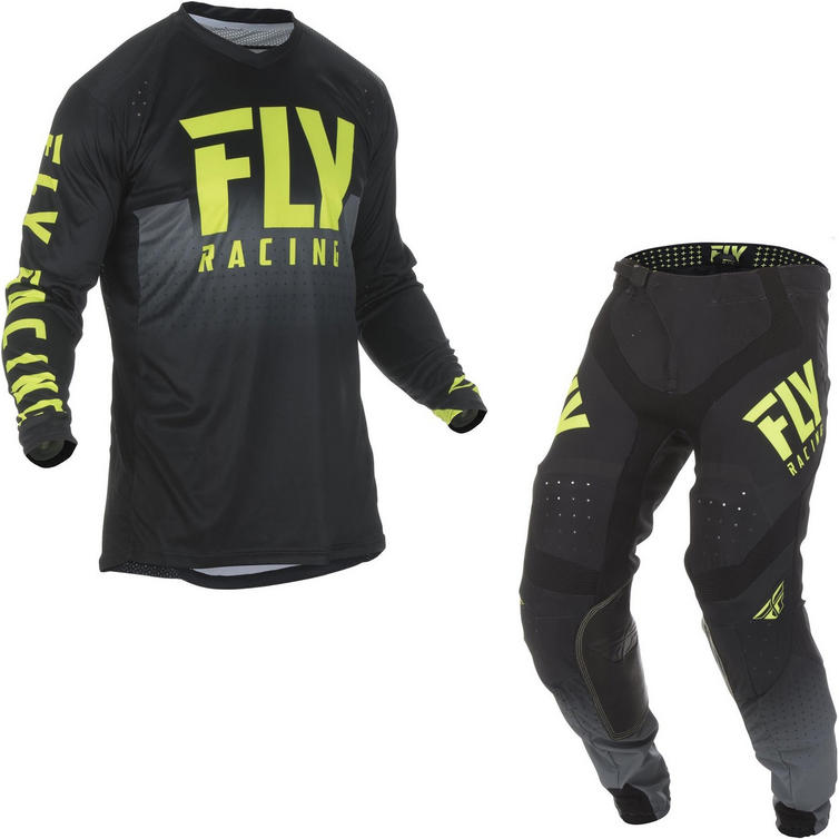 Fly Racing 2019 Lite Hydrogen Motocross Jersey & Pants Black Hi-Vis Kit