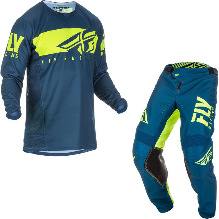 Fly Racing 2019 Kinetic Shield Motocross Jersey & Pants Navy Hi-Vis Kit