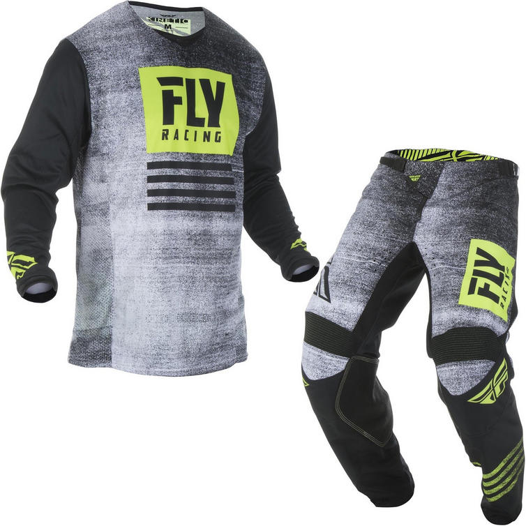 Fly Racing 2019 Kinetic Noiz Motocross Jersey & Pants Black Hi-Vis Kit