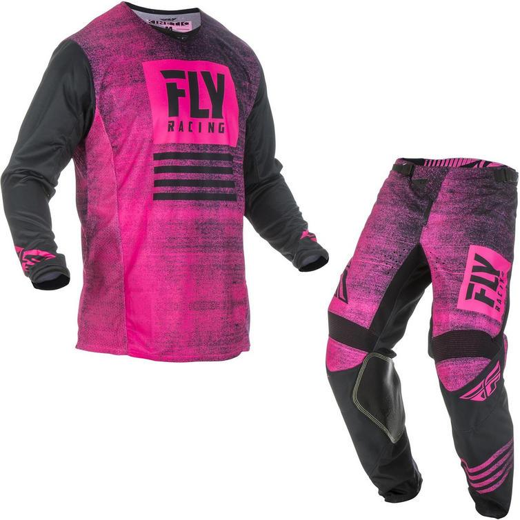 Fly Racing 2019 Kinetic Noiz Motocross Jersey & Pants Neon Pink Black Kit