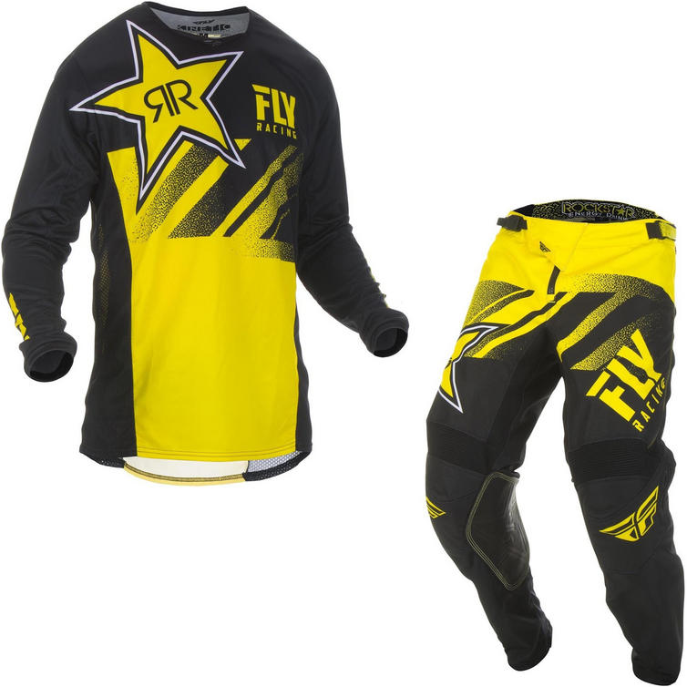 Fly Racing 2019 Kinetic Rockstar Motocross Jersey & Pants Yellow Black Kit