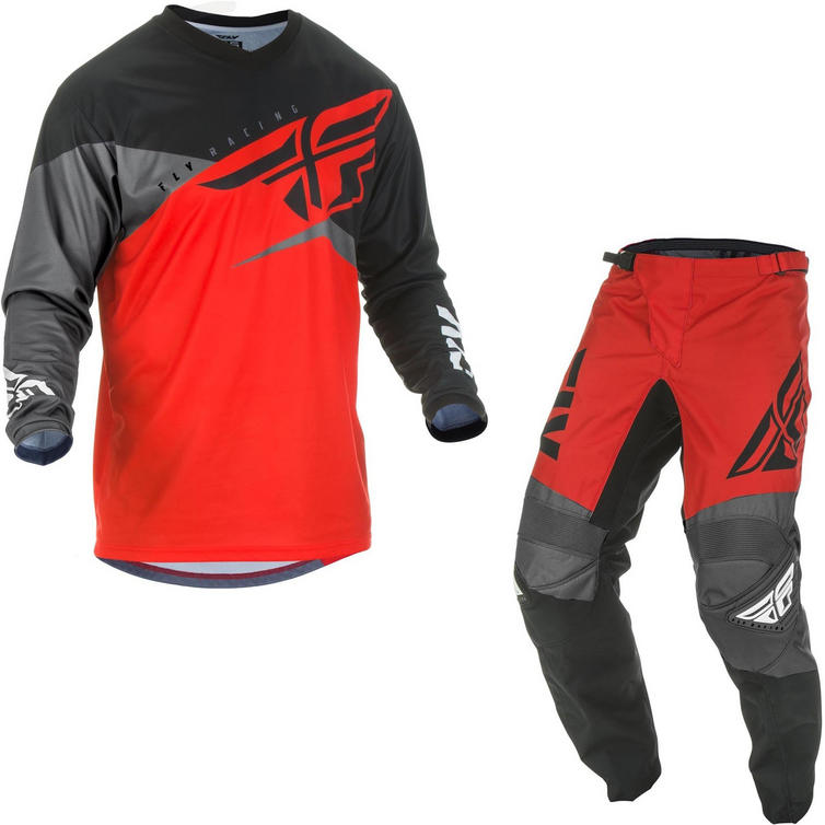 Fly Racing 2019 F-16 Motocross Jersey & Pants Red Black Grey Kit
