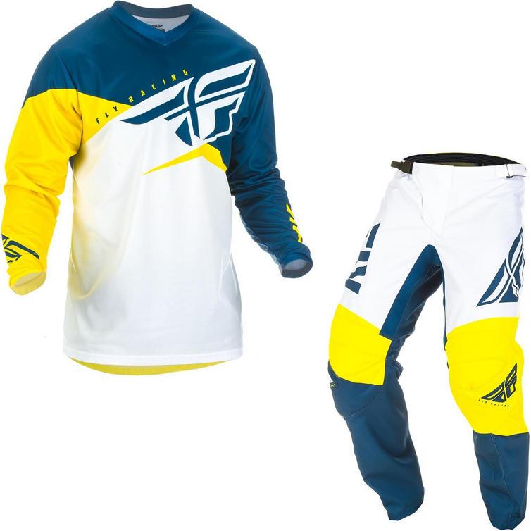 Fly Racing 2019 F-16 Motocross Jersey & Pants Yellow White Navy Kit