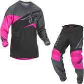 Fly Racing 2019 F-16 Motocross Jersey & Pants Neon Pink Black Grey Kit