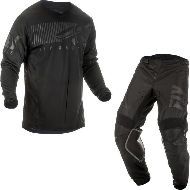Fly Racing 2019 Kinetic Shield Youth Motocross Jersey & Pants Black Kit