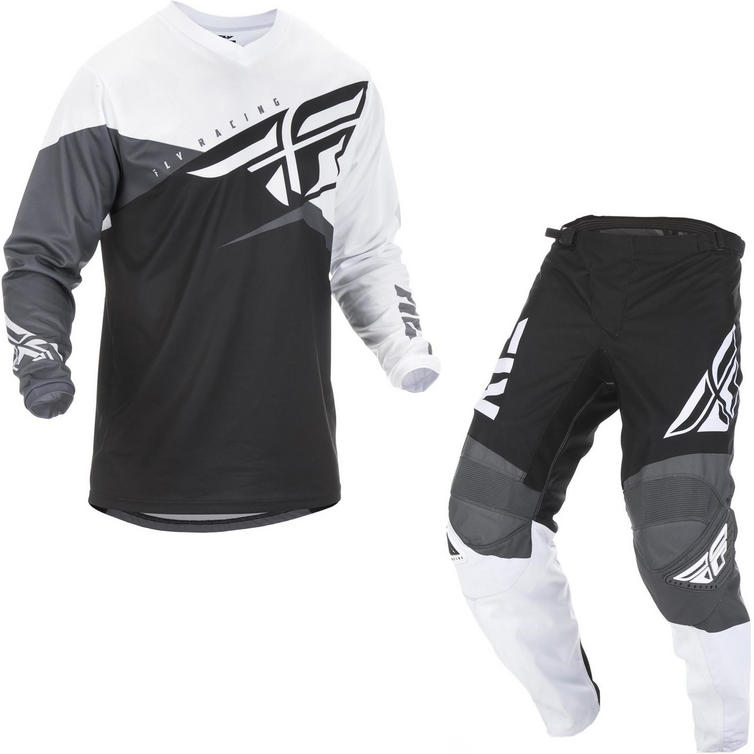 Fly Racing 2019 F-16 Youth Motocross Jersey & Pants Black White Grey Kit