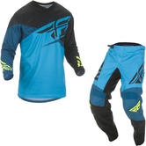 Fly Racing 2019 F-16 Youth Motocross Jersey & Pants Blue Black Hi-Vis Kit