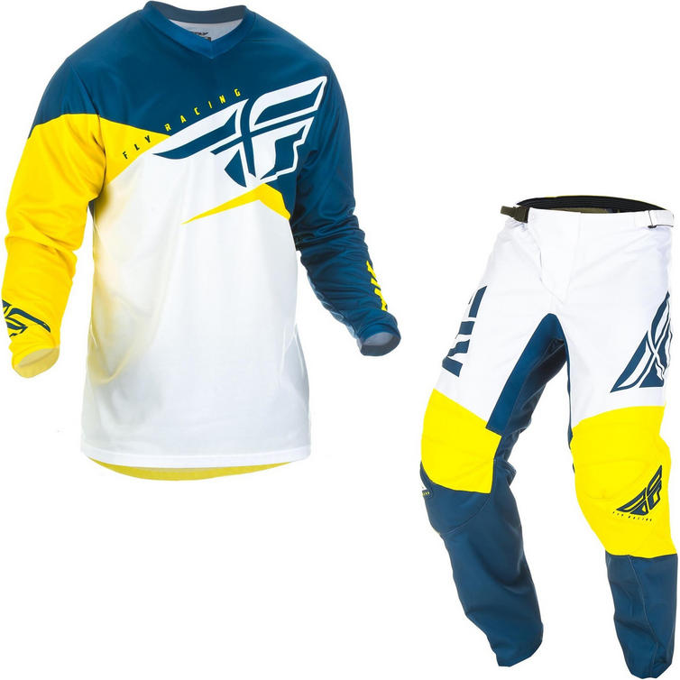 Fly Racing 2019 F-16 Youth Motocross Jersey & Pants Yellow White Navy Kit
