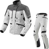 Rev It Poseidon 2 GTX Motorcycle Jacket & Trousers Silver Anthracite Silver Black Kit