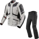 Rev It Neptune 2 GTX Motorcycle Jacket & Trousers Silver Black Black Kit