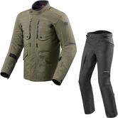 Rev It Trench GTX Jacket & Globe GTX Trousers Motorcycle Dark Green Black Kit