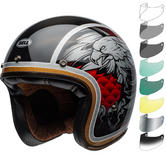 Bell Custom 500 Carbon Osprey Open Face Motorcycle Helmet & Visor