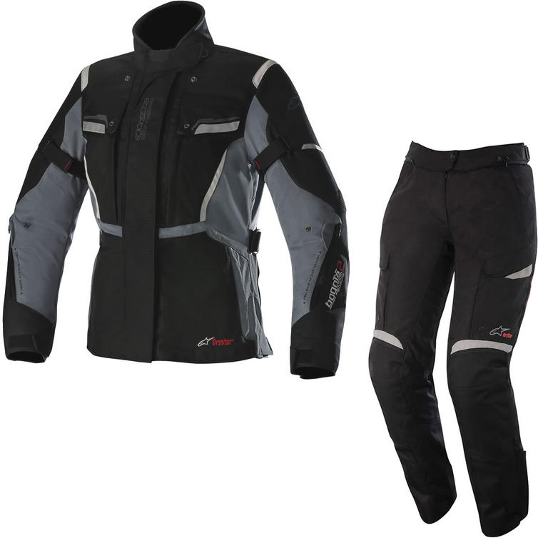 Alpinestars Stella Bogota v2 Drystar Motorcycle Jacket & Trousers Black Grey Black Kit