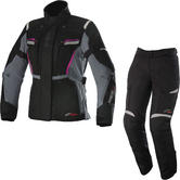 Alpinestars Stella Bogota v2 Drystar Motorcycle Jacket & Trousers Black Grey Fuchsia Black Kit