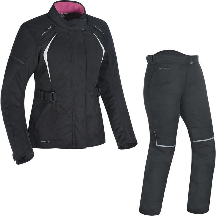 Oxford Dakota 2.0 Ladies Motorcycle Jacket & Trousers Black White Tech Pink Kit