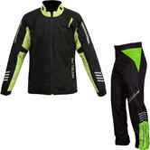 Merlin Rain Motorcycle Over Jacket & Trousers Black Fluo Kit