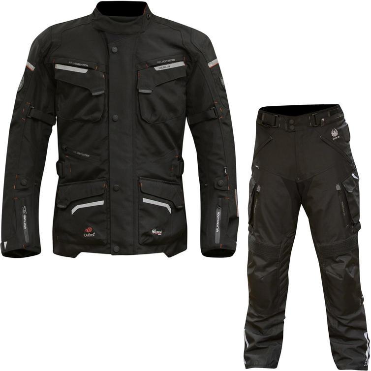 Merlin Lynx Outlast Airbag Ready Motorcycle Jacket & Trousers Black Kit