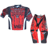 Wulf Aztec Cub Kids Motocross Jersey & Pants Red Kit