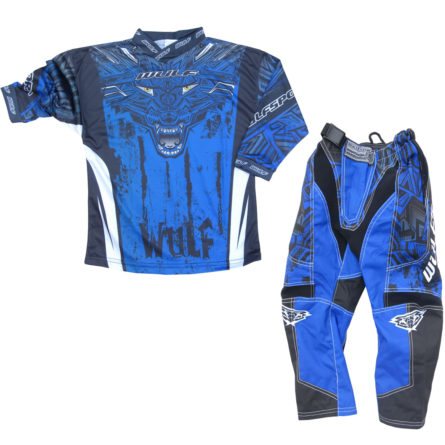 Wulf Aztec Cub Junior Motocross Jersey Pants Kit Blue Mx Racing