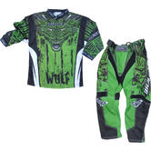 Wulf Aztec Cub Kids Motocross Jersey & Pants Green Kit