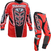 Wulf Axium Adult Motocross Jersey & Pants Red Kit