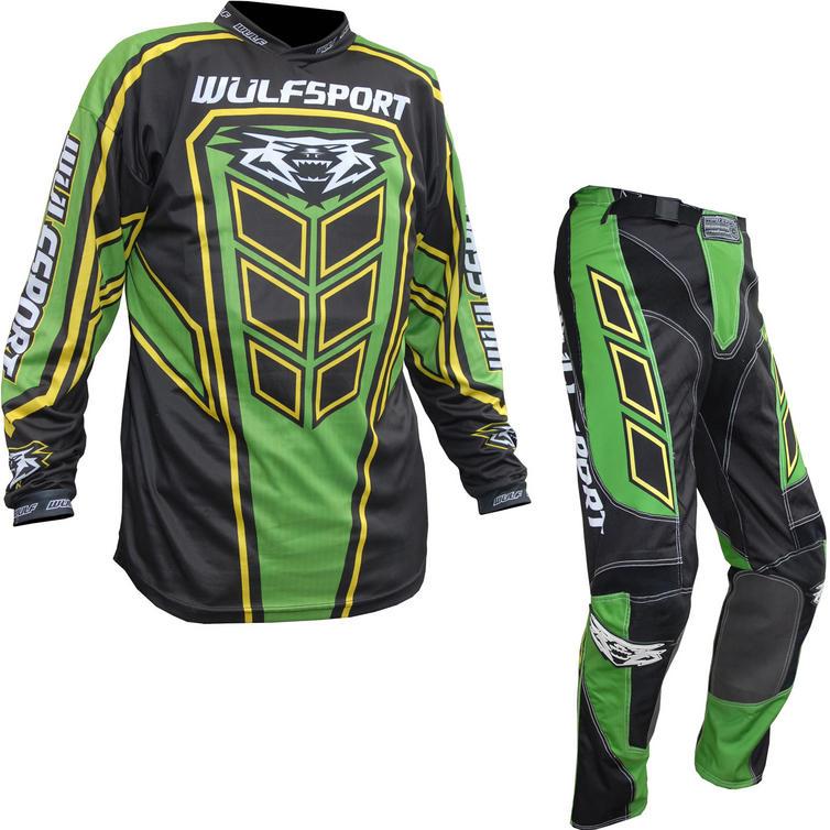 Wulf Axium Adult Motocross Jersey & Pants Green Kit