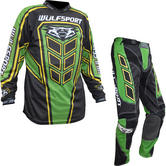 Wulf Axium Adult Motocross Jersey & Pants Green Kit