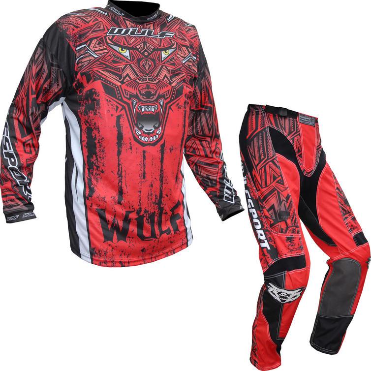 Wulf Aztec Adult Motocross Jersey & Pants Red Kit