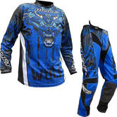Wulf Aztec Adult Motocross Jersey & Pants Blue Kit