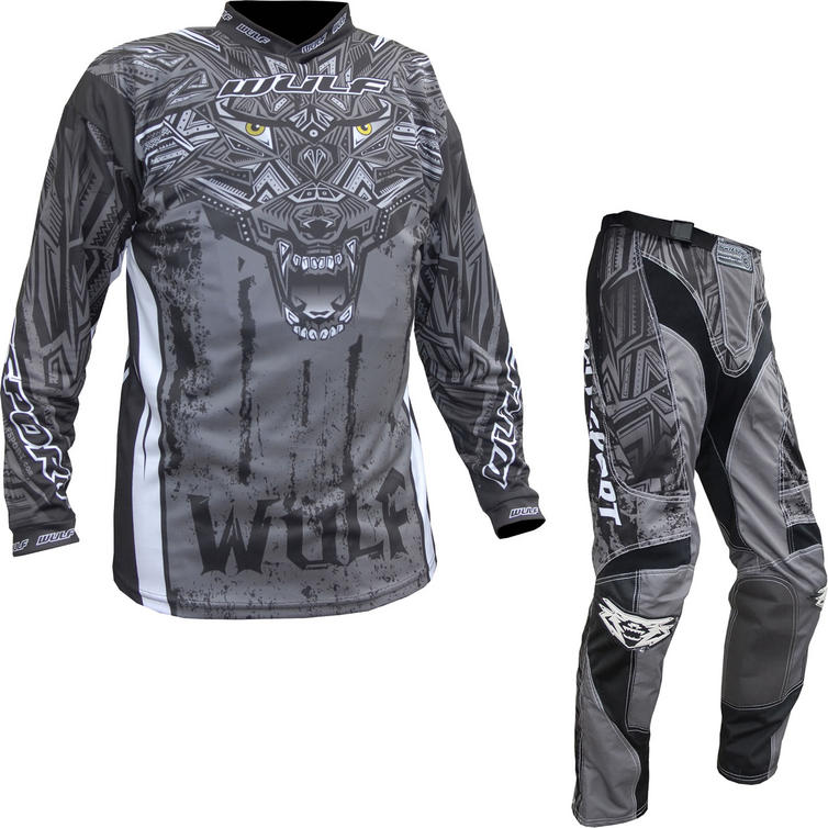 Wulf Aztec Adult Motocross Jersey & Pants Grey Kit