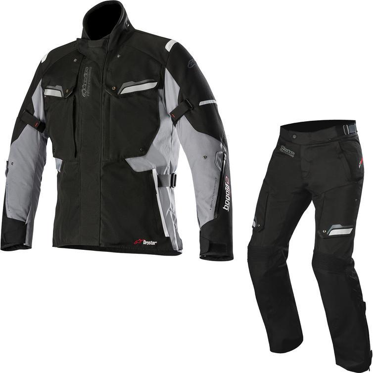 Alpinestars Bogota Drystar v2 Motorcycle Jacket & Trousers Black Grey Kit