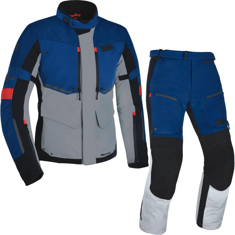 Oxford Mondial Advanced Motorcycle Jacket & Trousers Grey Blue Red Kit