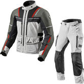 Rev It Offtrack Motorcycle Jacket & Trousers Silver Red Black Kit
