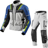 Rev It Offtrack Motorcycle Jacket & Trousers Silver Blue Black Kit
