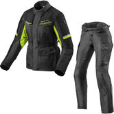 Rev It Outback 3 Ladies Motorcycle Jacket & Trousers Black Neon Yellow Kit