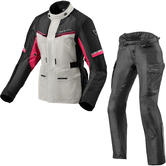 Rev It Outback 3 Ladies Motorcycle Jacket & Trousers Silver Fuchsia Black Kit