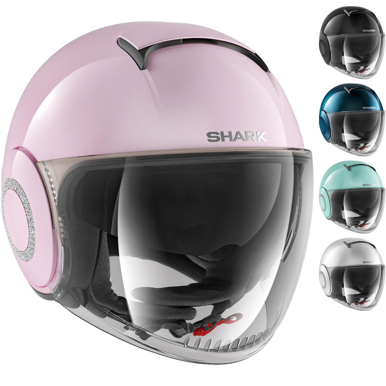 Shark Nano Crystal Swarovski Ladies Open Face Motorcycle Helmet