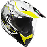 AGV AX-8 Dual Sport Evo Earth Motorcycle Helmet S White Black Yellow