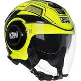 AGV Fluid Soho Open Face Motorcycle Helmet S Yellow Black