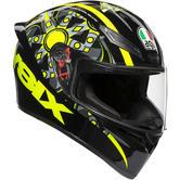 AGV K1 Top Flavum 46 Full Face Motorcycle Helmet XS Black Yellow